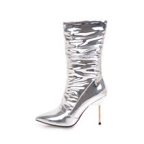Arden Furtado 2018 spring autumn zipper sexy stilettos party shoes ladies slip on pointed toe  mid-calf boots