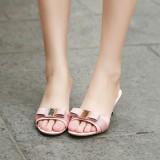 Arden Furtado spool heels peep toe high heels 6cm genuine leather slippers red pink metal butterfly knot fashion stilettos bowtie slides women's shoes ladies mules