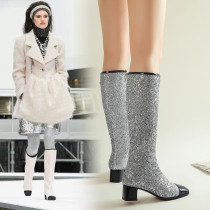 bling bling knee high boots women's shoes big size 43 chunky heels 4cm glitter winter boots