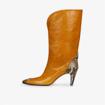 Arden Furtado 2018 autumn winter pointed toe mid calf boots ladies cone heels fashion women yellow red black suede winter boots