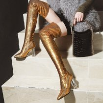 Arden Furtado 2018 autumn winter glitter sequined cloth pointed toe over the knee boots silver gold women's shoes zipper boots