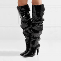 Arden Furtado 2018 spring autumn over the knee high boots pleated cone heels Square toe woman shoes ladies sexy fashion shoes women