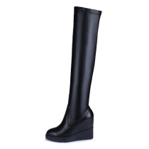 Arden Furtado 2018 spring autumn  platform wedges over the knee high boots woman shoes ladies Stretch boots