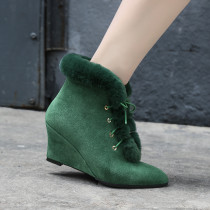 Arden Furtado 2018 spring autumn  pointed toe lace up wedges boots woman shoes ladies green fur snow boors