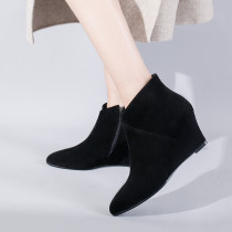 Arden Furtado 2018 spring autumn wedges boots pointed toe ankle boots woman shoes ladies grey matin boots