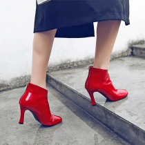 Arden Furtado 2018 spring autumn winter sexy stilettos strange style ladies zipper Square toe red shining leather ankle boots matin boots