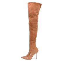 Arden Furtado 2018 autumn winter zipper fashion shoes women ove the knee boots high heels 12cm stilettos pointed toe brown boots