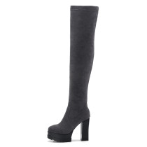 Arden Furtado 2018 spring autumn chunky heels boots  round toe platform  over the knee high boots woman shoes ladies