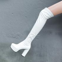 Arden Furtado  spring autumn zipper chunky heels boots platform round toe white over the knee high boots