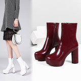 Arden Furtado spring autumn chunky heels 11CM burgundy boots party shoes ladies round toe platform half boots