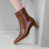 Arden Furtado 2018 spring autumn zipper chunky heels boots genuine leather brown pointed toe ankle boots