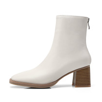 Arden Furtado spring autumn zipper chunky heels white boots square toe ankle boots woman shoes ladies