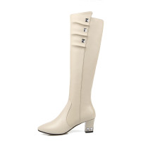 Arden Furtado 2018 spring autumn chunky heels boots  pointed toe  knee high boots