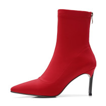 Arden Furtado 2018 spring autumn sexy stilettos party shoes ladies slip on pointed toe ankle boots