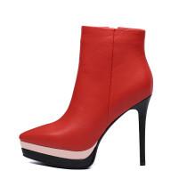 Arden Furtado 2018 spring autumn zipper sexy stilettos platform party shoes ladies slip on pointed toe ankle boots