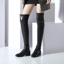 Arden Furtado 2018 spring autumn square heels flat over the knee boots shoes woman genuine leather Stretch boots