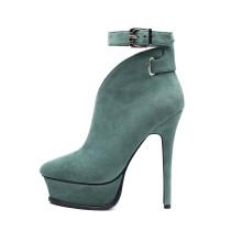 Arden Furtado 2018 spring autumn high heels 14cm platform sexy stilettos party shoes ladies zipper pointed toe green ankle boots
