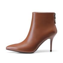 Arden Furtado 2018 spring autumn zipper sexy stilettos party shoes ladies slip on pointed toe ankle boots