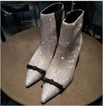 Arden Furtado 2018 spring autumn zipper sexy stilettos party shoes ladies zipper gold silver pointed toe crystal sequins ankle boots