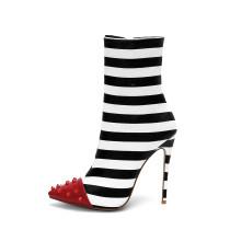 autumn winter striped boots stilettos high heels women's shoes ladies fashion boots big size 45