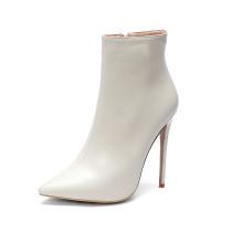 Arden Furtado 2018 spring autumn zipper sexy stilettos party shoes ladies zipper pointed toe white sky blue ankle boots