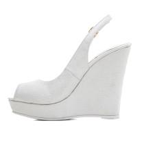 wedges sandals platform white peep toe buckle shoes women's ladies high heels 12cm sling back wedding shoes