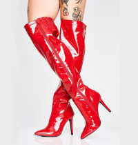 Arden Furtado winter autumn over the knee high boots silver red gold women's shoes sexy high heels ladies large size 47 48