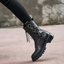 Arden Furtado Autumn winter square heels genuine leather boots round toe motorcycle ankle boots black  cross tied matin boots