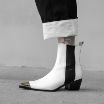 Arden Furtado2018 Autumn winter  chunky heels boots pointed toe  ankle boots black white ladies boots