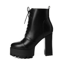 Arden Furtado 2018 Autumn winter chunky heels boots white ankle boots black fashion women's boots drop shipping small size 32 33