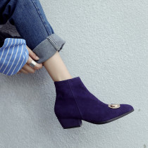 Arden Furtado2018 Autumn winter chunky heels pointed boots ankle boots black purple suede women's boots