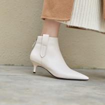 2018 spring autumn stilettos lower heels 5cm women's shoes ladies zipper fashion shoes genuine leather beige ankle boots 33 40