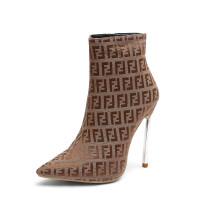 Arden Furtado 2018 fashion ankle boots  women's shoes ladies metal heels high heels stilettos large size F boots