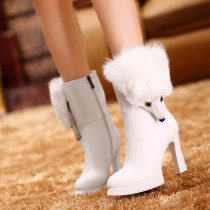 fox fur shoes women's shoes ladies platform snow boots white fashion genuine leather high heels booties