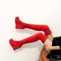 wedges over the knee boots red platform fashion women's shoes high heels Stretch boots