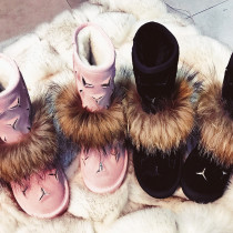 drop shipping Arden Furtado winter fashion warm snow boots fox fur flat boots round toe ankle boots woman shoes ladies big size shoes