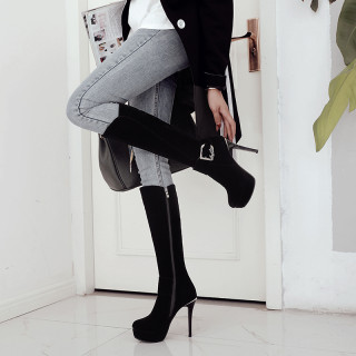 fashion boots platform high heels 12cm stilettos platform round toe large size 42 women's shoes crystal buckle shoes