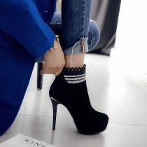 fashion boots platform high heels 12cm stilettos platform round toe large size 42 women's shoes fretwork shoes