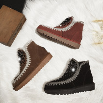 winter shoes women ankle boots flat warm brown snow boots women's boots large size 40 41