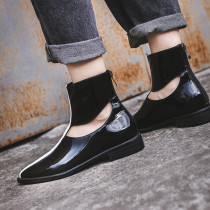 women's boots short flat boots fashion genuine leather shiny leather ankle booties pointed toe for autumn