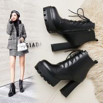 chunky heels fashion women's boots matin boots thick heels 11cm genuine leather cross tied platform shoes SIZE 40