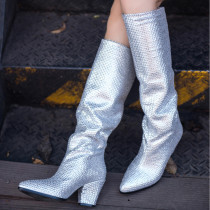 chunky heels fashion women's boots large size crystal rhinestone shiny pleated knee high boots small size 33