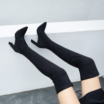 Arden Furtado knee high boots chunky heels genuine leather chunky heels show thin show leg long