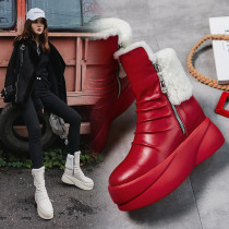 Fashionable and simple winter 2018 warm and anti-freeze genuine leather platform wedges red black round toe snow boots for women