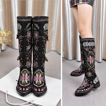2018 autumn and winter ethnic wind color flat style simple female boots
