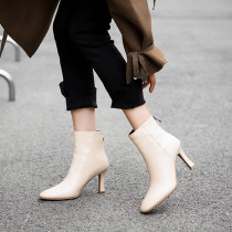 Autumn/winter 2018 fashion leather pinched-heeled ankle boots for women
