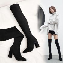women's boots knee high boots chunky heels Skinny boot  Minimum size 33 maximum size 43