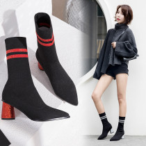 Two bar pointed thick with women's short boots casual simple maximum size 39
