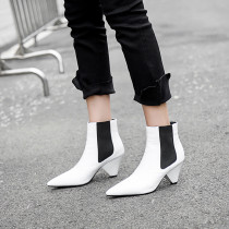 Fashion leather chunky zipper boots for autumn/winter 2018