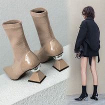 Arden Furtado spring autumn Stretch boots short boots pointed toe socks boots strange style pointed toe fashion shoes knitting booties